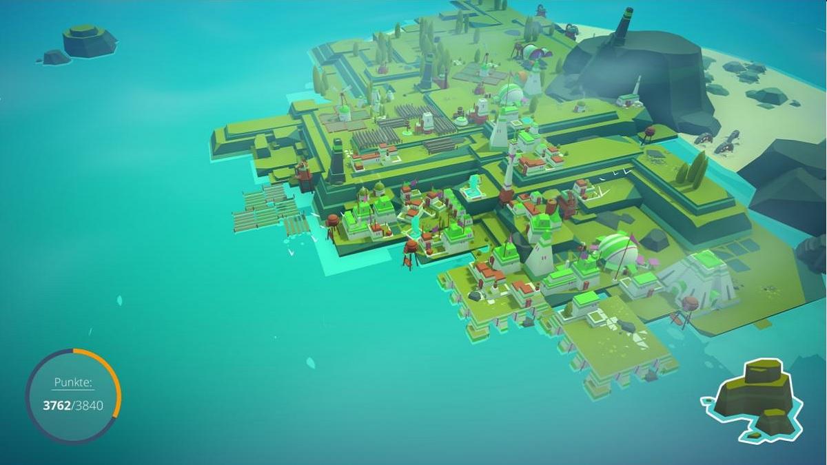 Screenshot des Spiels Islanders - Blick auf eine grafisch einfach gehaltene Insel mit einigen einfachen Bauwerken darauf