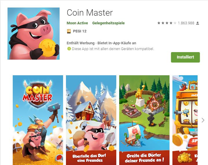 PEGI Kennzeichnung Coin Master Screenshot Markus Meschik