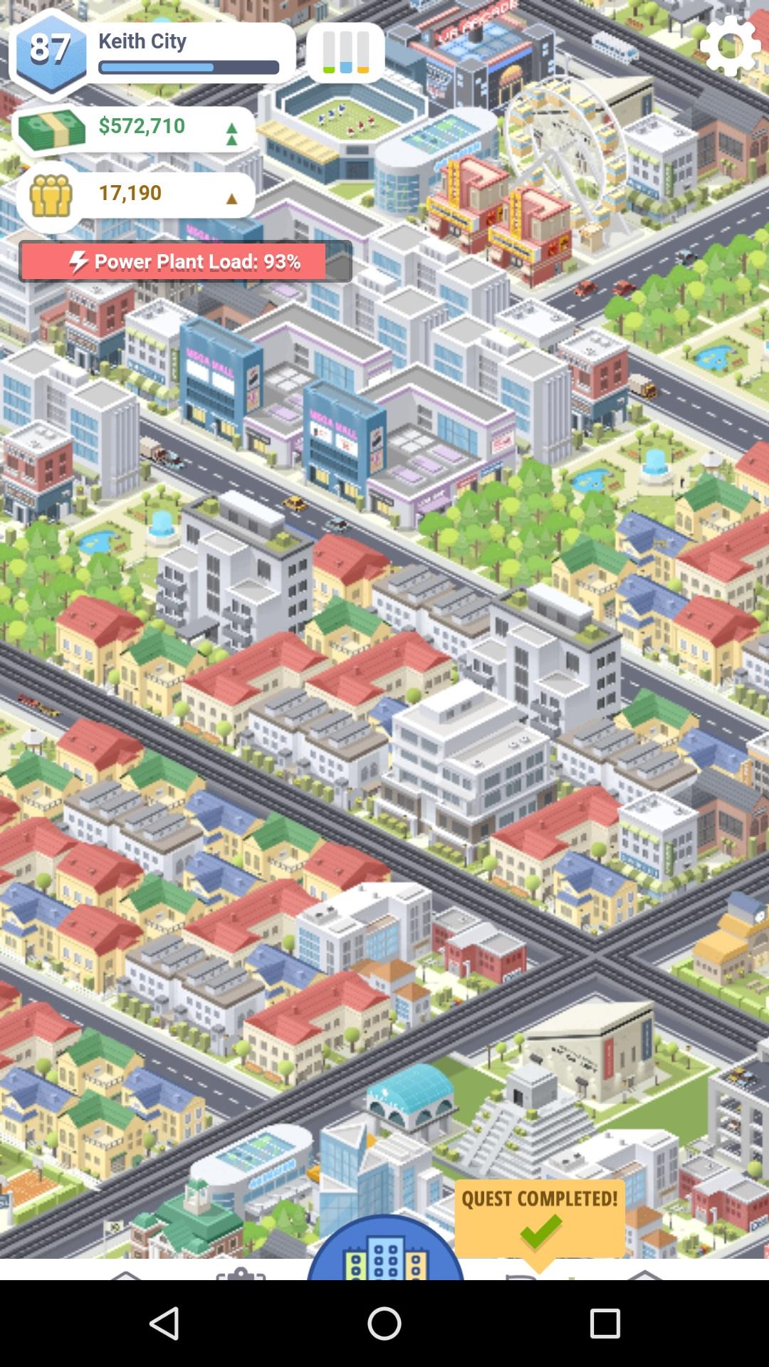 Screenshot des Spiels Pocket City - Blick auf eine grafisch einfach gehaltene Darstellung einer offenbar großen, modernen Stadt.