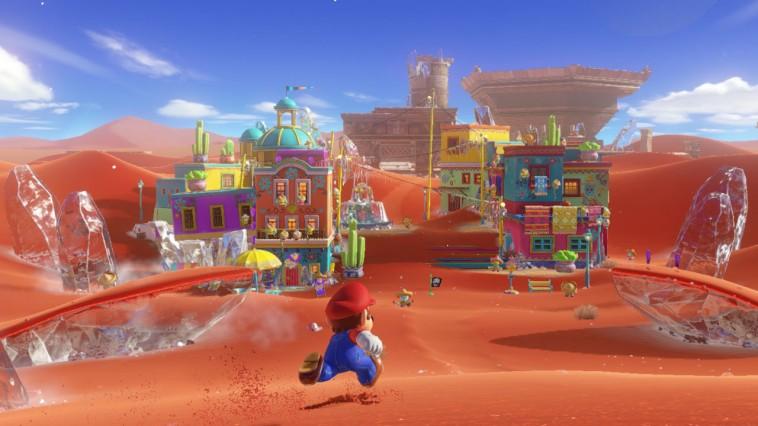 screenshot: Mario läuft über die Brutzelebene in der Wüstenstadt.