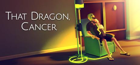 Logo des Spiels: Ein Vater sitzt mit seinem Kleinkind auf der Brust in einem Sessel. Daneben steht ein Gestell mit einer Infusion, in der eine gelbgrüne Flüssigkeut leuchtet.