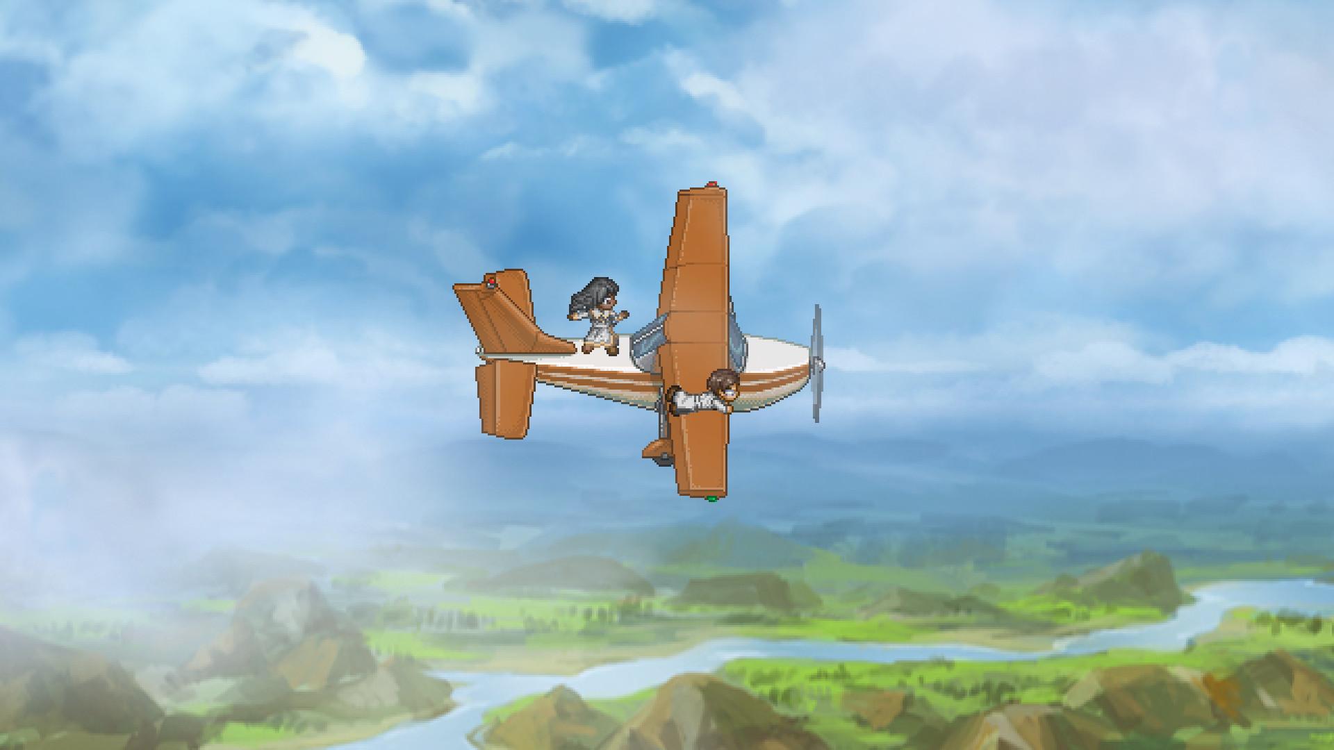 Screenshot: Eine Frau tanzt und ein Mann hält sich an ein fliegendes Flugzeug
