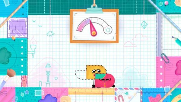 Screenshot: Zwei Papierfiguren versuchen eine vorgegebene Form zu kreiren.