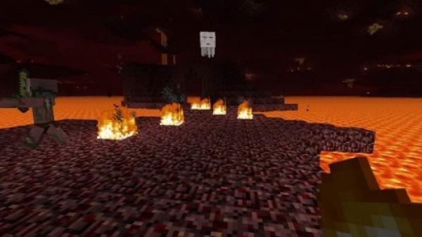Unterirdisch bewegt man sich an einem Lava See vorbei