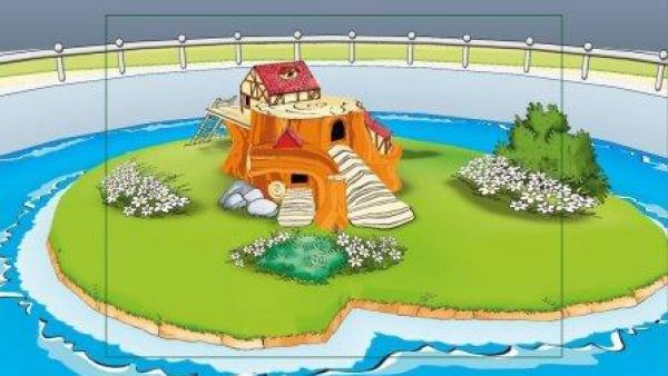 Ein Häuschen auf einer Insel.