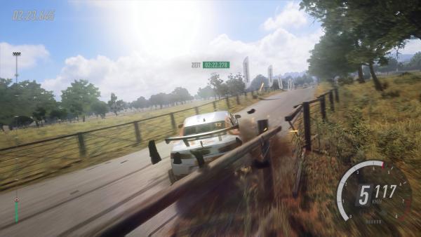Screenshot des Spiels - gegen den Zaun gefahren