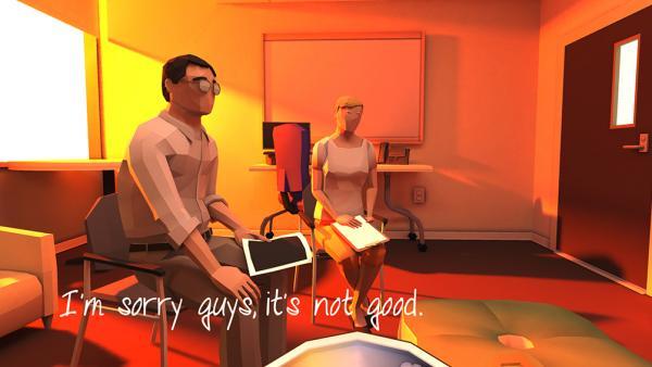 """Screenshot: Ein Mann und eine Frau sitzen in einem Büro. Links im Bild steht der Text """"I'm sorry guys, it's not good."""""""