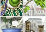 Screenshot: Ein stilisiertes Auge, ein Ast mit Blättern, ein Apfel über einer Schüssel und zwei Häuschen