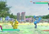 Screenshot: Pikachu steht einem blauen Fuchs-Pokemon gegenüber