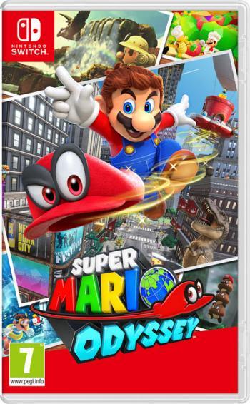 cover: Mario schleudert gerade Cappy weg, im Hintergrund ist eine Stadt.