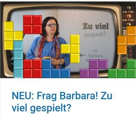 """Screenshot des Beitrags """"Frag Barbara! Zu viel gespielt?"""" auf saferinternet.at"""