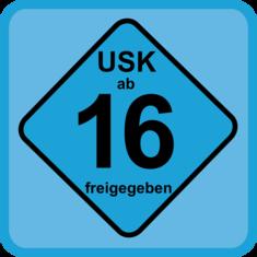 USK Logo, ab 16 freigegeben (blau)